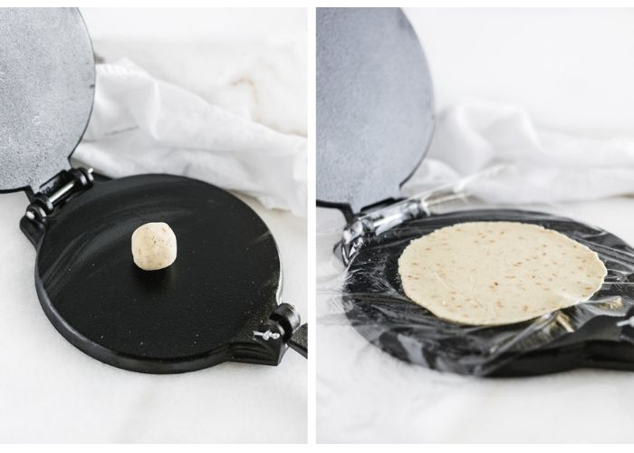 two photos of a tortilla press side by side. One with a ball of tortilla dough, the other after the dough has been pressed flat