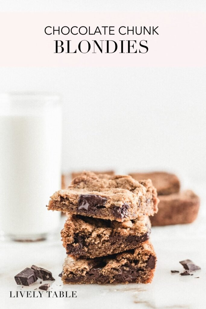 pinterest image for chocolate chunk blondies.