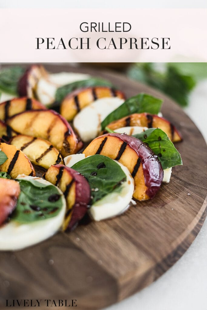 pinterest image with text for grilled peach caprese.