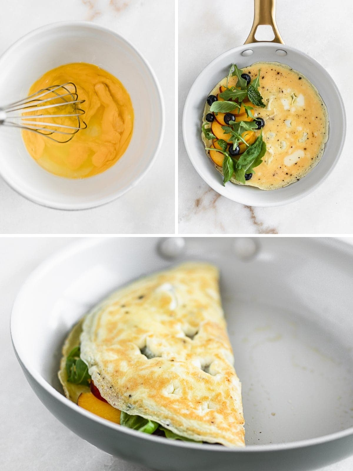 A Peach, Blueberry and Arugula Omelet is an easy, healthy omelet made with summer fruit and spicy arugula for a healthy meal any time of day! (gluten-free, vegetarian) | via livelytable.com