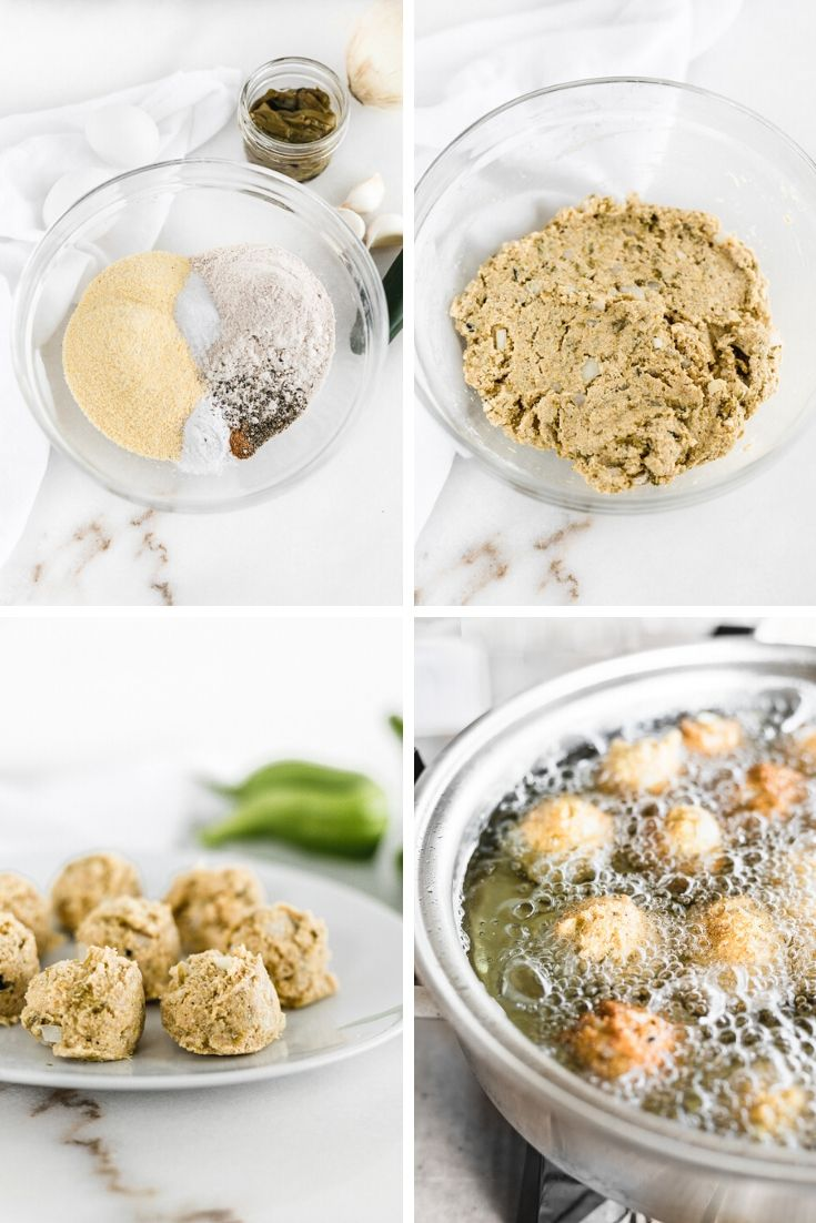 four image collage showing steps for how to make hatch chile hush puppies.