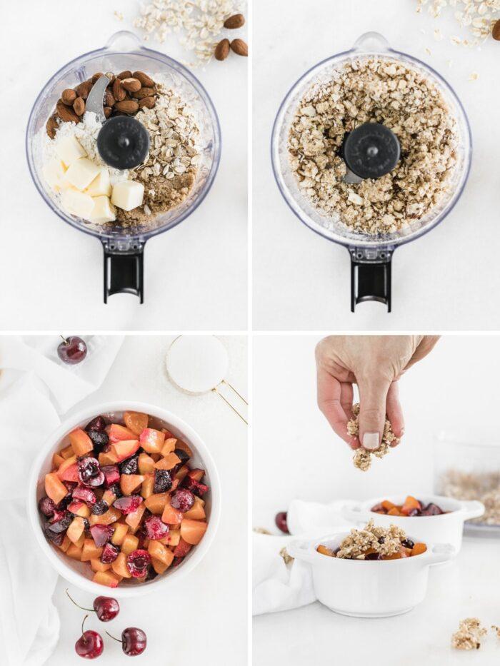 Steps on how to make stone fruit cobbler.