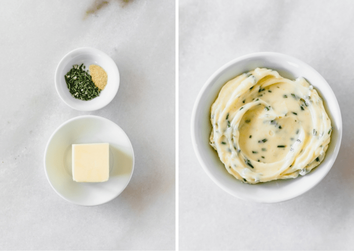 two image collage showing ingredients for garlic herb butter next to the completed garlic herb butter shot from overhead.