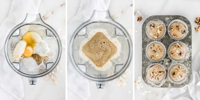 three image collage showing steps for making banana nut blender muffins.