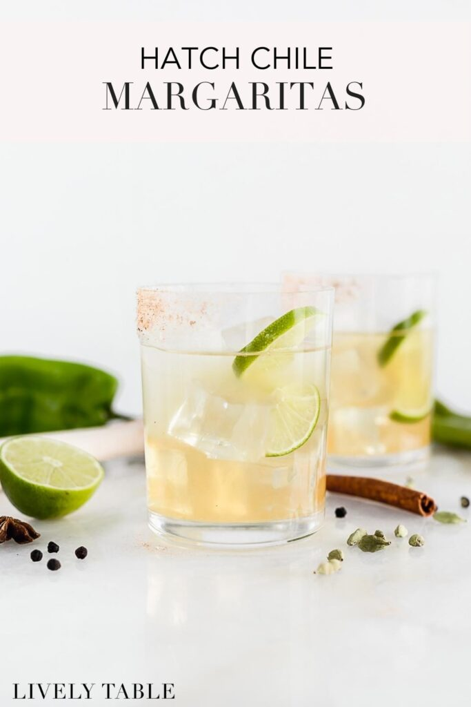 Pinterest image with text for Top Shelf Hatch Chile Margaritas.