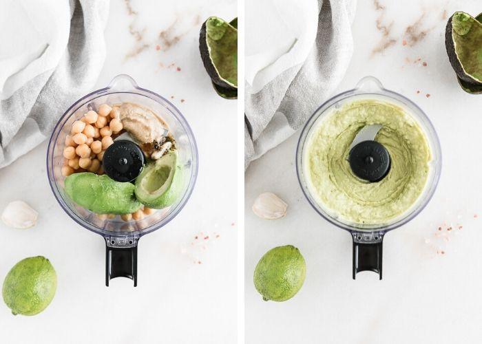 How to make avocado hummus using a blender.