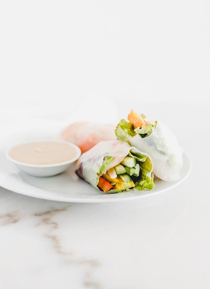 mango shrimp spring rolls