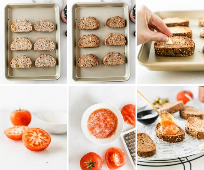 6 image collage showing steps for making pan con tomate.