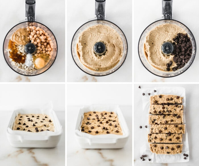 six image collage showing steps for making homemade chickpea cookie dough protein bars.