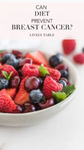 pinterest image with berries and text saying 'can diet prevent breast cancer?'.