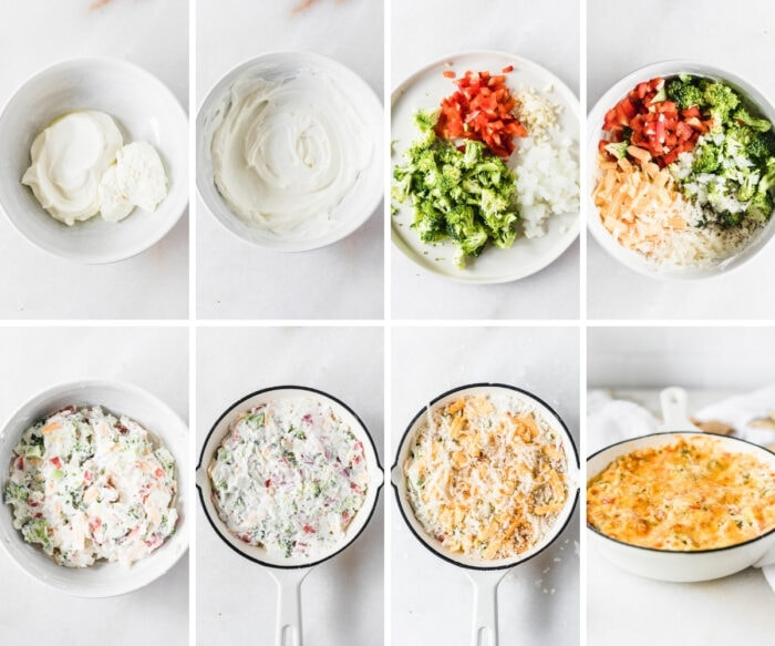 8 image collage showing steps for making healthy hot broccoli dip.