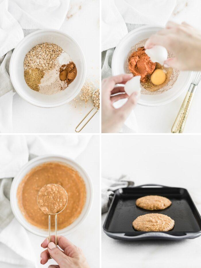 How to make pumpkin oatmeal pancakes.
