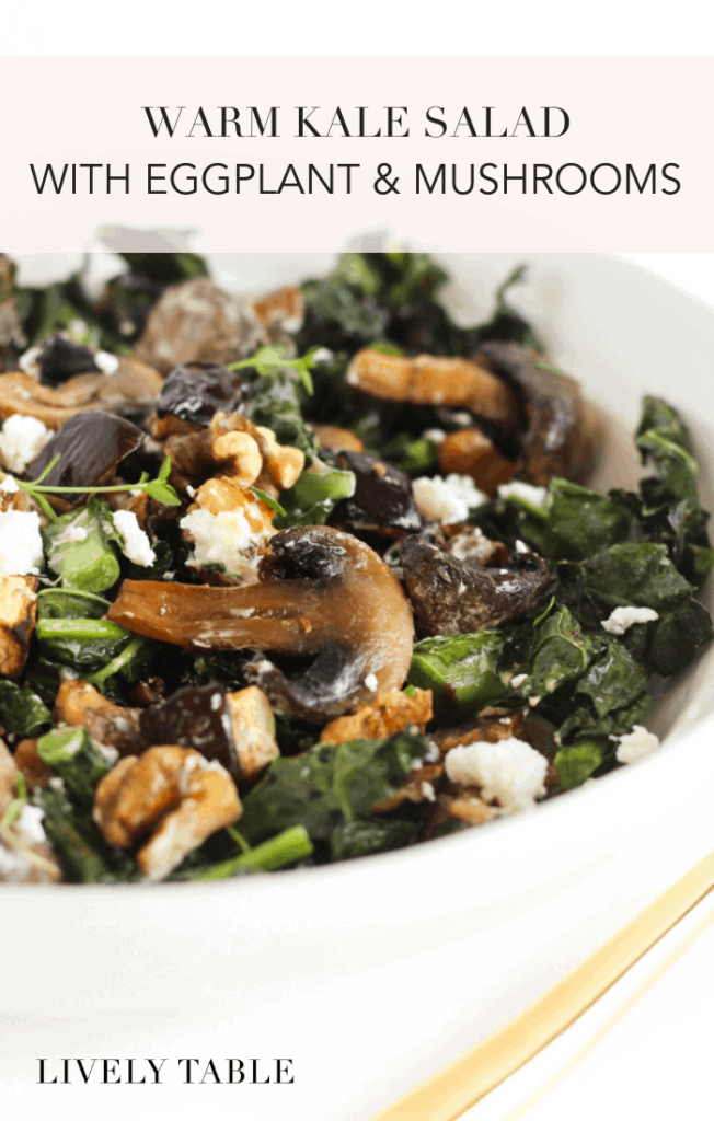 Salads don't have to be cold or boring! Try a delicious warm kale salad with eggplant and mushrooms, topped with tangy goat cheese, walnuts and balsamic vinaigrette. It's the perfect side dish for cold weather! (#glutenfree, #vegetarian) #kale #winter #sidedish #salad #healthy #recipes