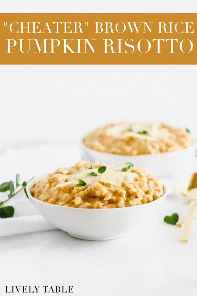 pumpkin risotto in a white bowl topped with parmesan and herbs with text overlay.