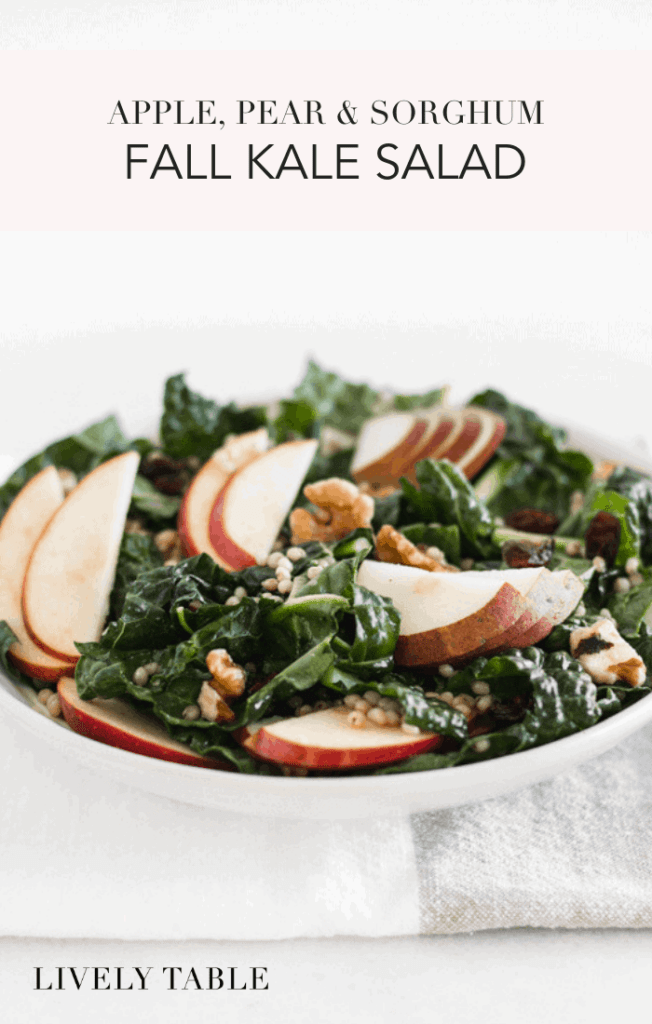 A nutritious and seasonal fall kale salad with whole grain sorghum, apples, pears, and cranberries that's great as a vegan Thanksgiving side dish or a meal-prep friendly fall lunch! (#glutenfree, #vegan) #kalesalad #fall #apple #sorghum #pear #cranberries #wholegrain #thanksgiving #sidedish #mealprep #healthy #recipes