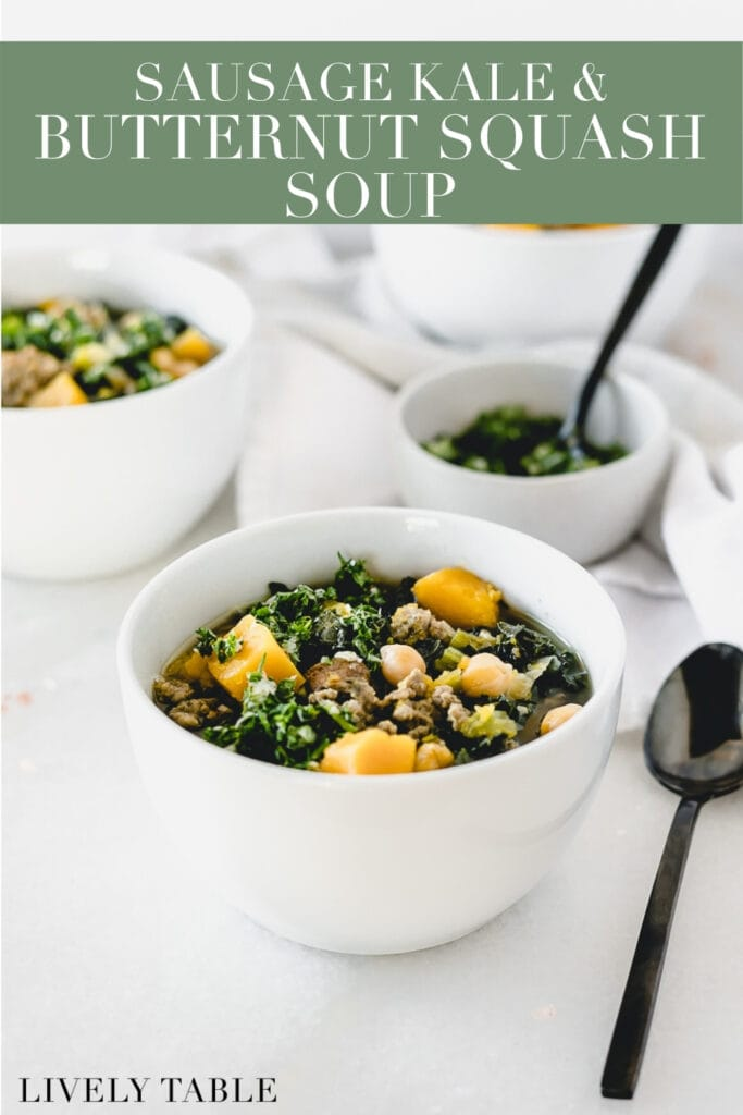kale sausage butternut squash soup in a white bowl with text overlay.