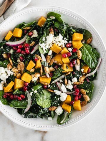 Butternut squash kale spinach salad