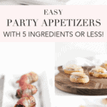 pinterest image with several images of party appetizers
