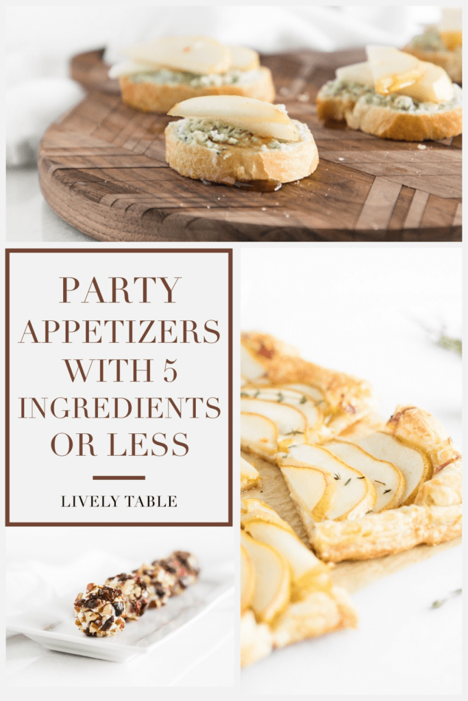 pinterest image collage with 3 images of party appetizers and text overlay.