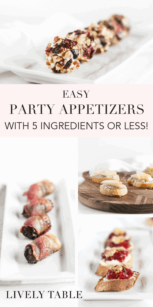 Make holiday entertaining a breeze with these delicious, easy party appetizers with 5 ingredients or less! Perfect for Christmas, New Years Eve, and all of your holiday party needs. #appetizers #easy #recipes #holiday #christmas #newyears #entertaining #party