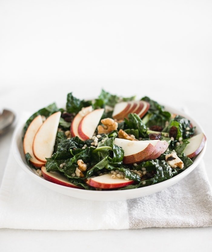 fall kale salad with sorghum, apples and pears
