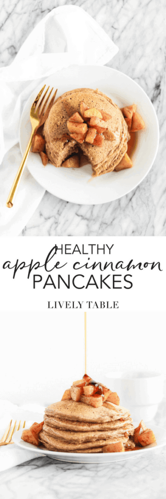 Healthy Apple Cinnamon Pancakes full of fresh apples, whole grains and delicious cinnamon make the perfect fall weekend breakfast! (#dairyfree, #vegetarian, #noaddedsugar) #pancakes #apple #fall #breakfast #brunch #healthy #recipes