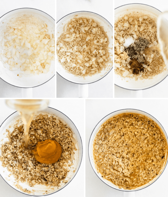 collage image showing steps for making brown rice pumpkin risotto.