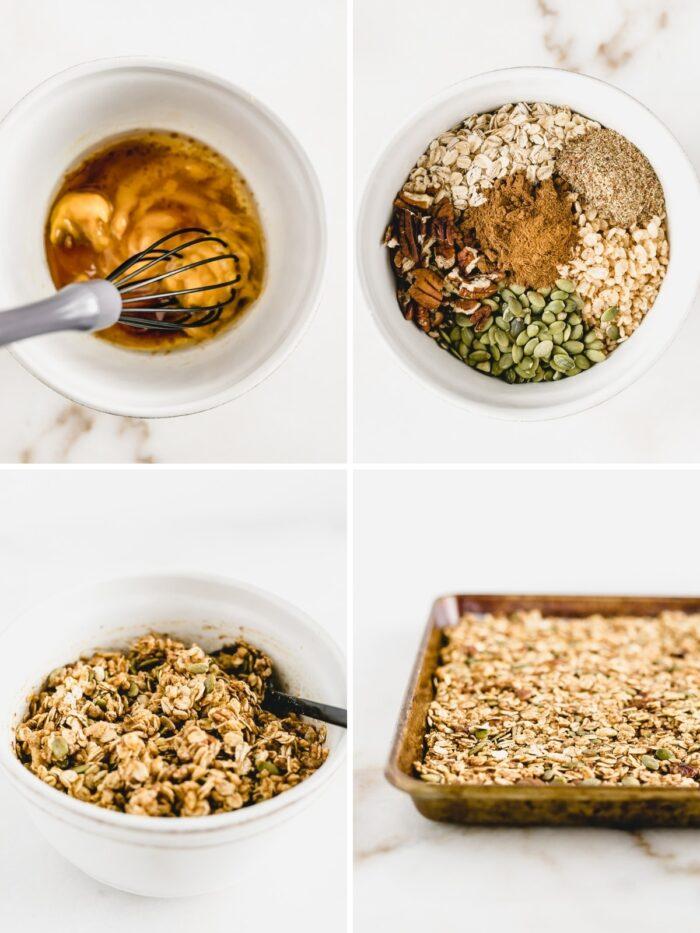 How to make chunky pumpkin granola.