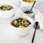 This easy and healthy Sausage, Kale and Butternut Squash Soup with chickpeas is a quick and cozy meal for cool fall nights. (gluten-free, dairy-free)
