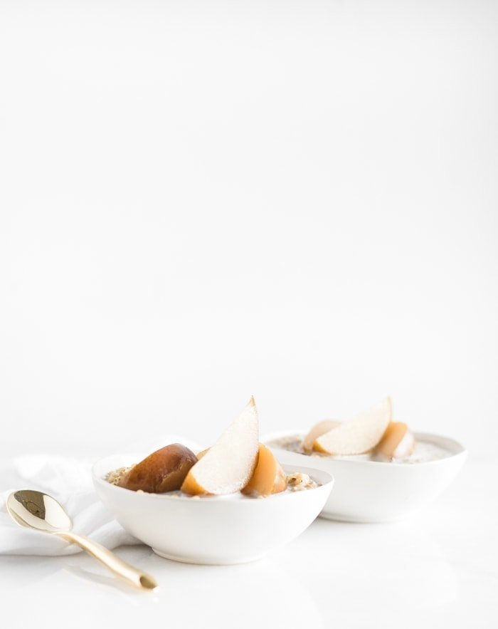 Maple Poached Pears and Sorghum Porridge