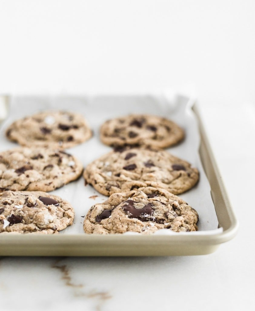 Neiman Marcus chocolate chip cookies all done on a pan.