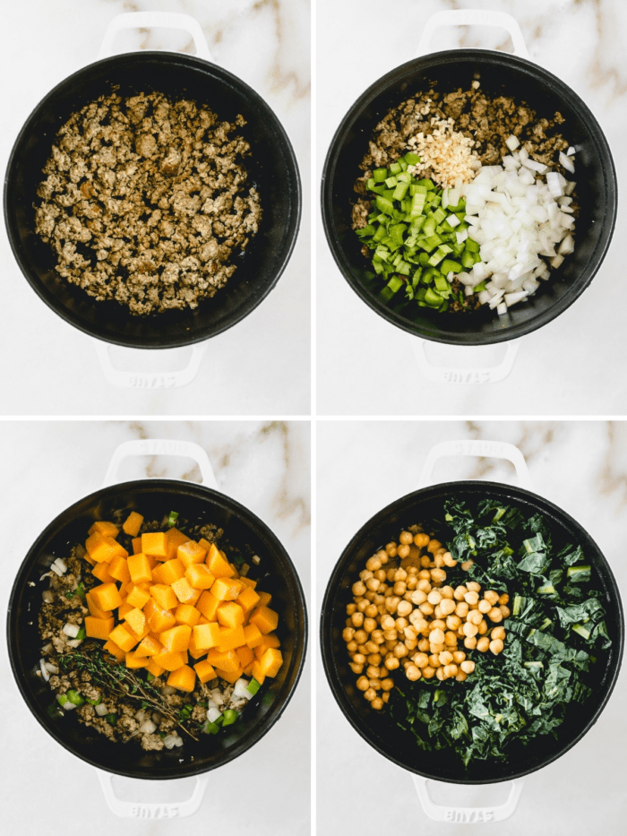 collage showing steps for making kale sausage butternut squash soup.