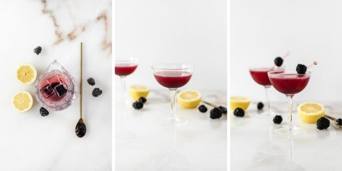 three image collage showing steps for making a blackberry gin and jam cocktail.