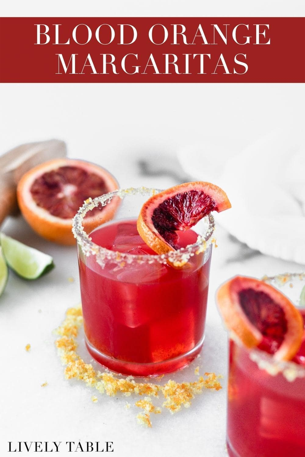 Celebrate citrus season with simple, gorgeous blood orange margaritas! #margaritas #bloodorangecocktails #bloodorangemargarita #bloodorange #citruscocktails