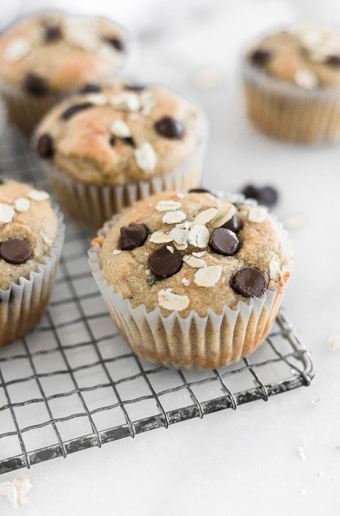 Healthy banana chocolate chip blender muffins are a super easy and nutritious make-ahead breakfast or snack you can enjoy on the go! (gluten-free)