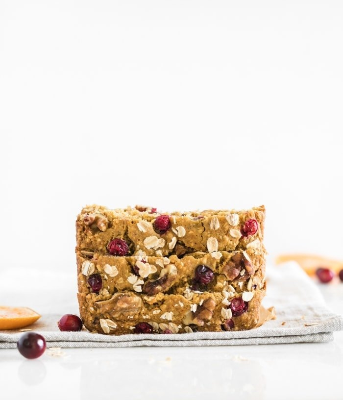 healthy cranberry orange oatmeal bread