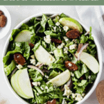 A sweet and delicious salad, Mel's Granny Smith Salad is filled with crisp granny smith apples, blue cheese and crunchy candied pecans for a healthy treat! (#glutenfree, #vegetarian) #salad #apples #bluecheese #sidedish #healthy #recipes