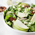 A sweet and delicious salad, Mel's Granny Smith Salad is filled with crisp granny smith apples, blue cheese and crunchy candied pecans for a healthy treat! (gluten-free, vegetarian)