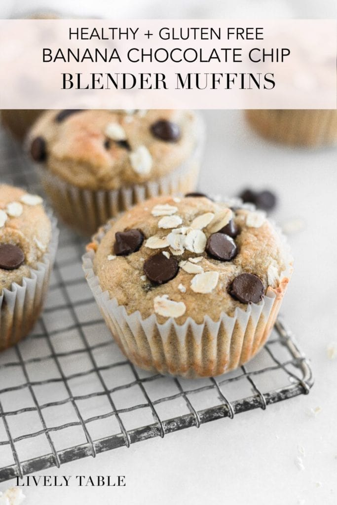 Pinterest image for gluten free banana chocolate chip blender muffins.