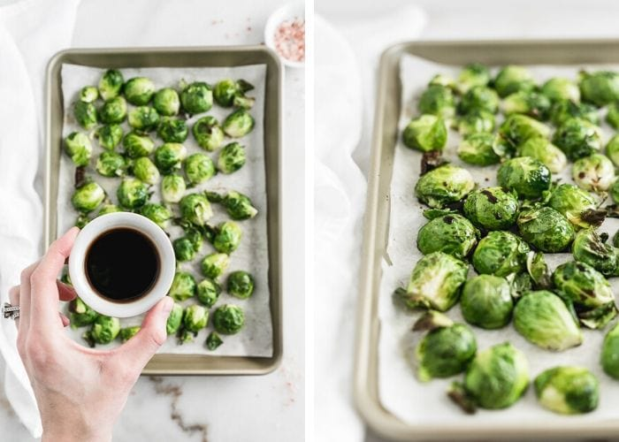 hand pouring balsamic vinegar on top of brussels sprouts, and the brussels sprouts arranged on a baking sheet.