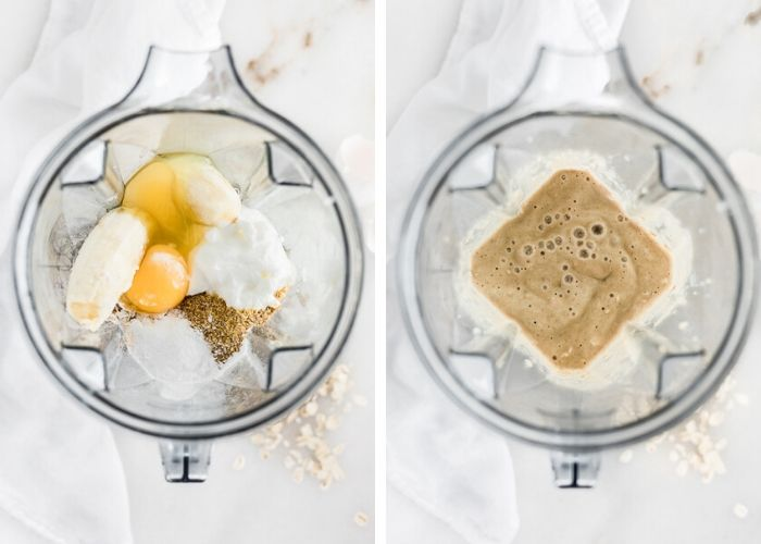 two images looking into a blender, one with muffin batter ingredients, the other with the blended muffin batter.