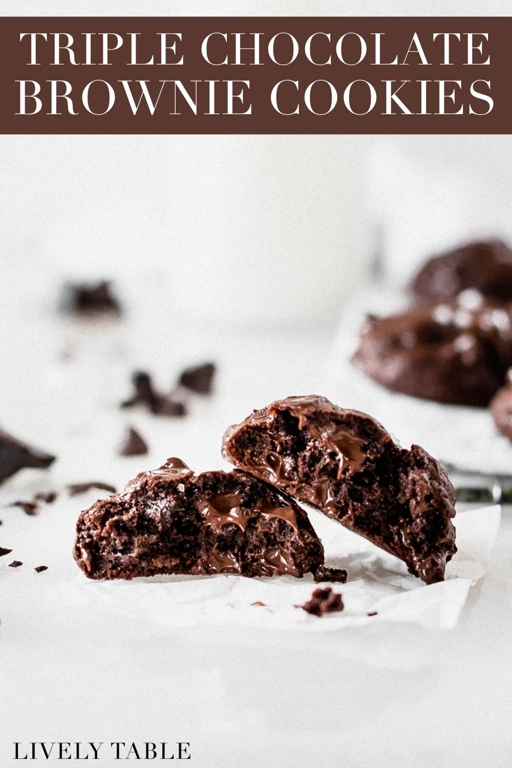 Triple Chocolate Cookies, loaded with three kinds of chocolate, are a rich and decadent collision of brownies and cookies. Just a couple of bites and your chocolate cravings will be satisfied! #nutfree #triplechocolate #dessert #cookies #chocolatetreats #valentinesdaytreats
