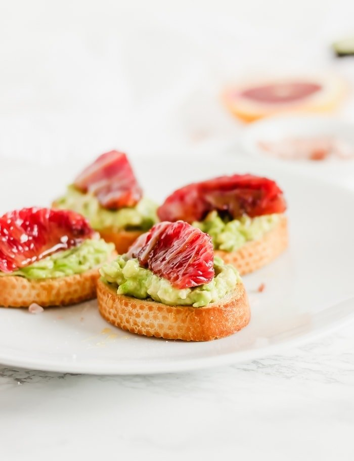 blood orange avocado crostini