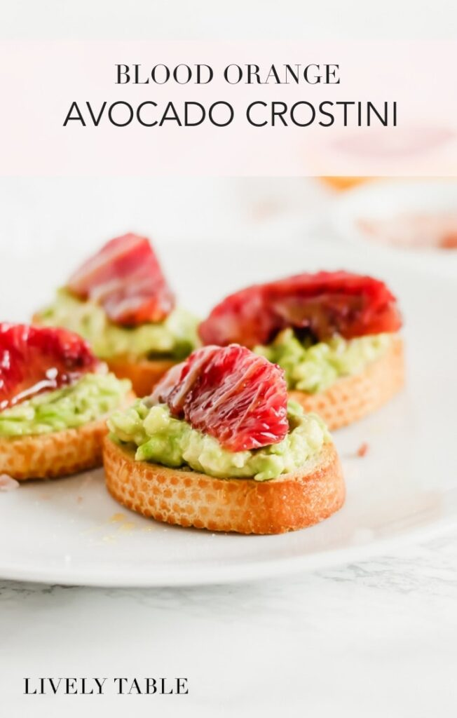Blood Orange Avocado Crostini are tiny versions of everyone's favorite snack topped with beautiful blood oranges, honey and sea salt. They're a delicious and healthy appetizer! (#vegetarian) #bloodorange #citrus #avocado #toast #crostini #appetizer #snack #brunch