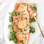 Garlic Cilantro Salmon is a delicious and easy salmon that makes a great healthy weeknight dinner with only 5 simple ingredients! (#glutenfree, #dairyfree option) #salmon #seafood #healthy #fish #weeknightdinner #easy