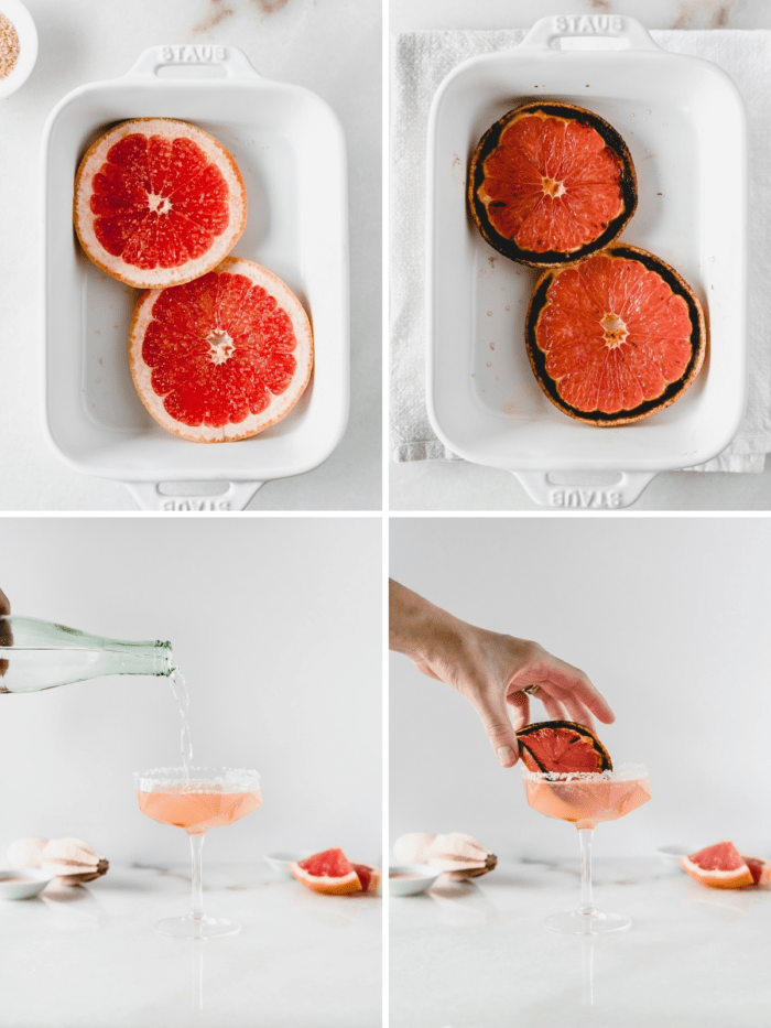 four image collage showing steps to broiling grapefruit and making a paloma.