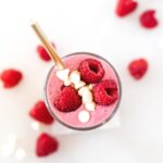 A secretly healthy white chocolate raspberry smoothie is the perfect sweet treat for Valentine's Day breakfast!