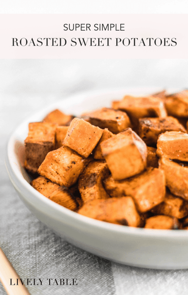 pinterest image for simple roasted sweet potatoes