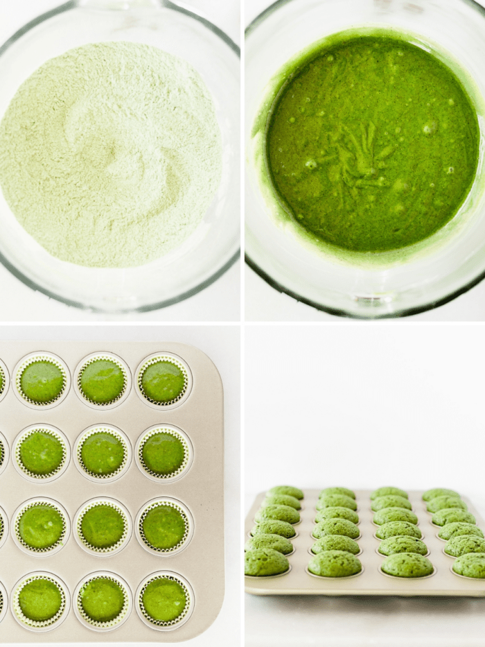 four image collage showing steps for baking matcha cupcakes.