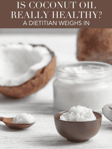 Is coconut oil really healthy? Get the research, facts and nutritional breakdown of coconut oil, and find out if you should be using coconut oil. #coconutoil #nutrition #health #wellness #keto #coconut #dairyfree #dietitian